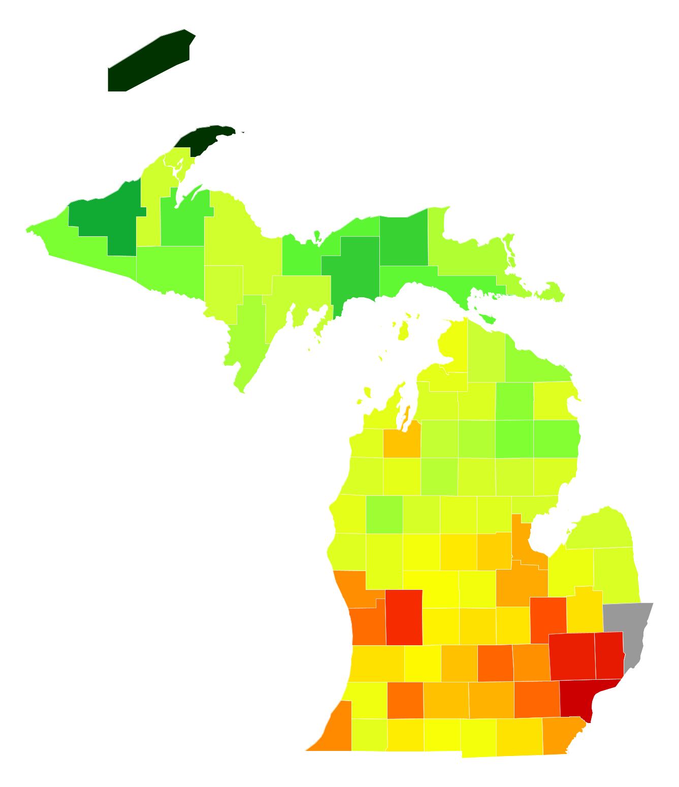 Michigan Population Density Atlasbig Com