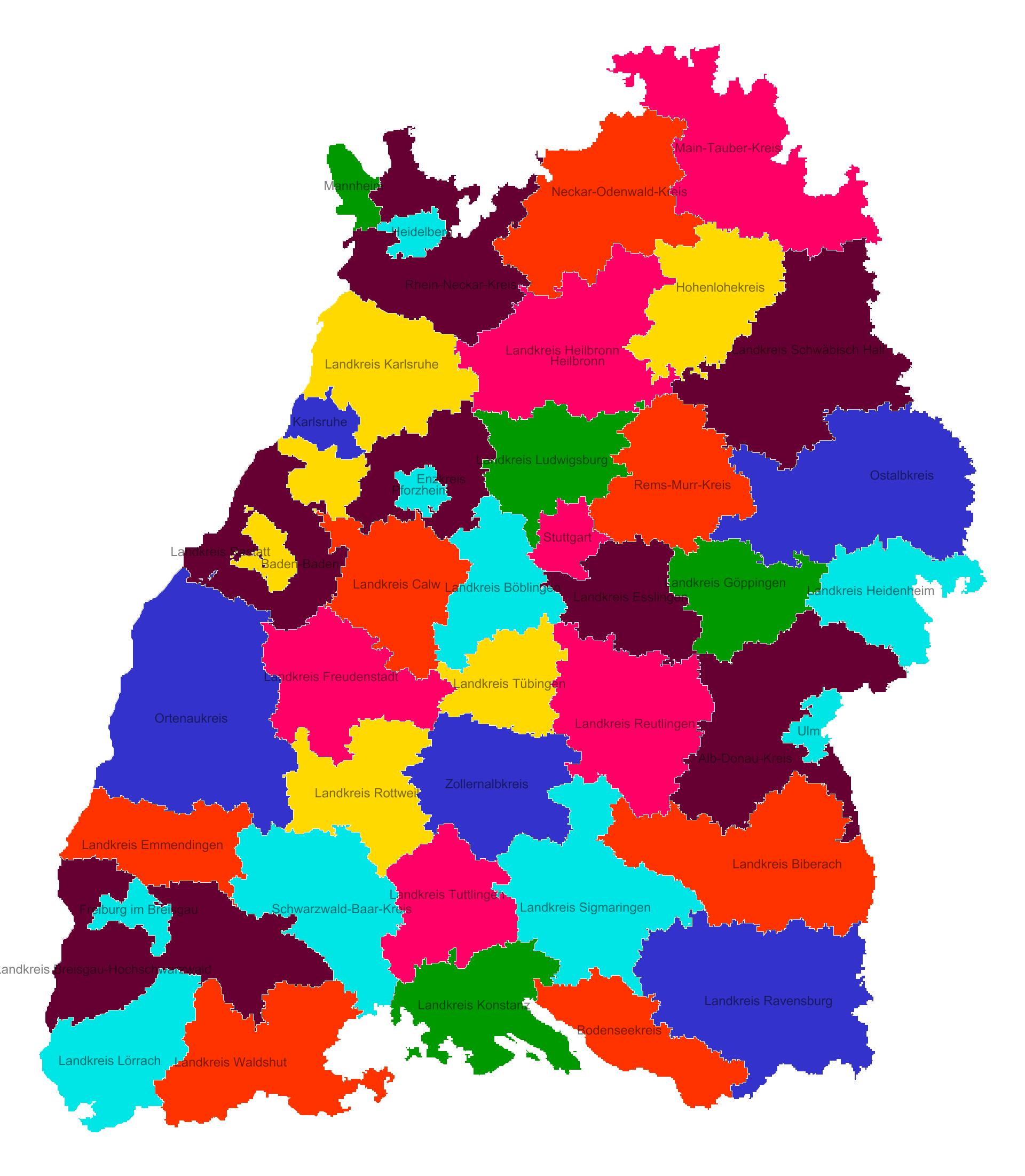 Land Und Stadtkreise In Baden Württemberg