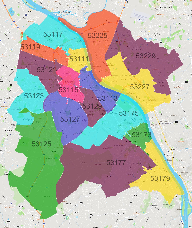 Bonn Postleitzahlen Karte Atlasbig Com