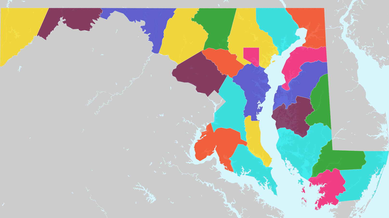 Counties of Maryland Interactive Colorful Map