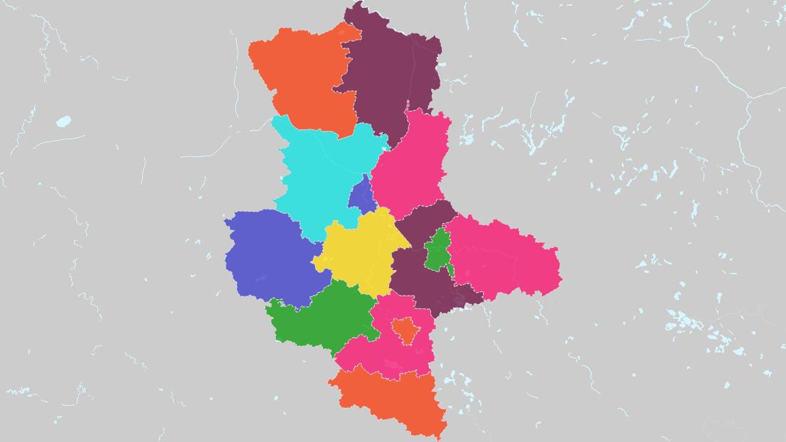 Karte Von Land Und Stadtkreise In Sachsen Anhalt